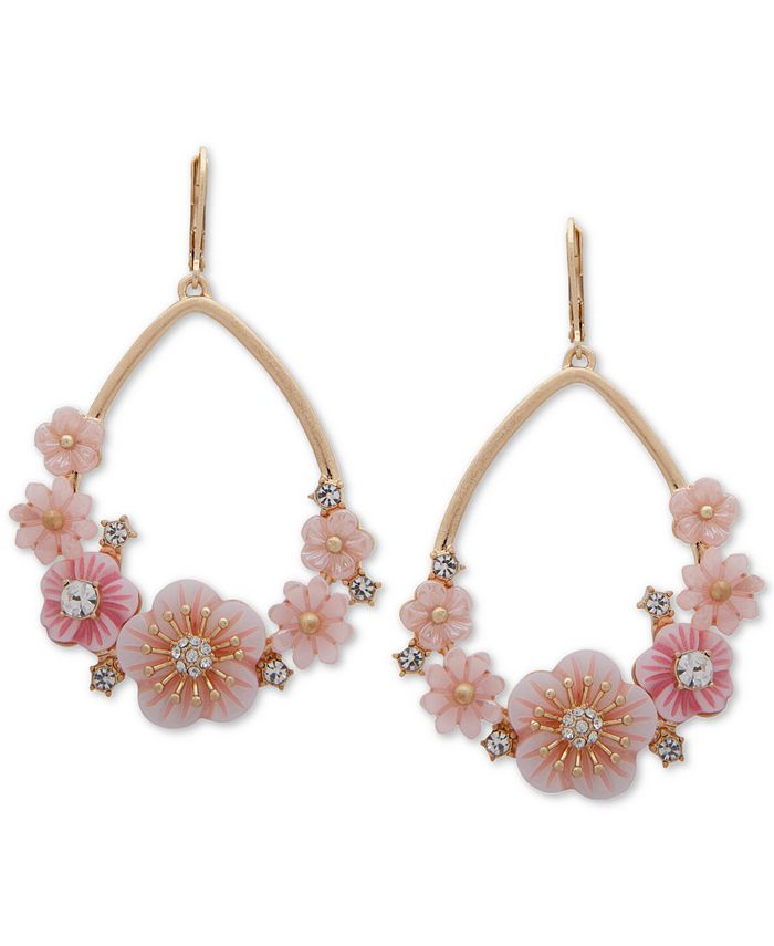 lonna & lilly - Gold-Tone Crystal Flower Open Drop Earrings