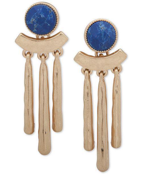 lonna & lilly Gold-Tone Blue Stone Stick Chandelier Earrings