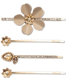 lonna & lilly Gold-Tone 4-Pc. Set Crystal Flower Bobby Pins