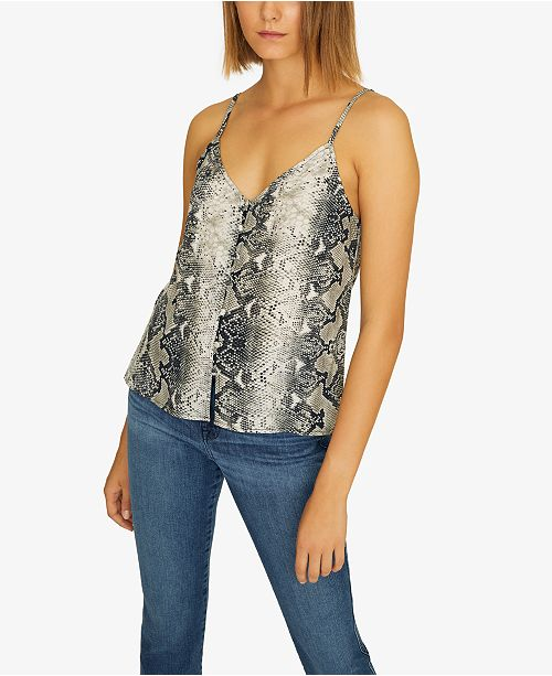 Sanctuary Essential Printed Button-Up Camisole Top