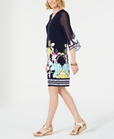 JM Collection Petite Printed Three-Ring Dress, Created for Macy's