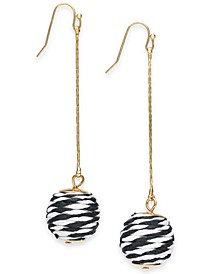 INC Gold-Tone Black & White-Wrapped Ball Linear Earrings, Created for Macy's