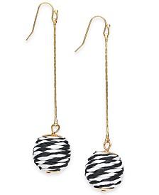 I.N.C. Gold-Tone Black & White-Wrapped Ball Linear Earrings, Created for Macy's