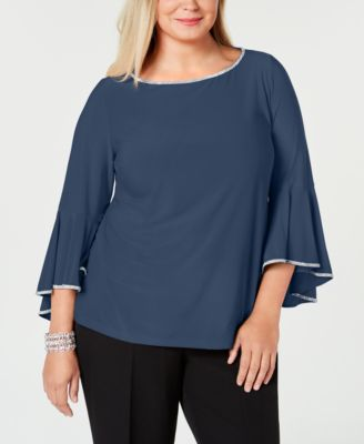 MSK Womens Bell Sleeves Top Clothing, Shoes & Jewelry Women