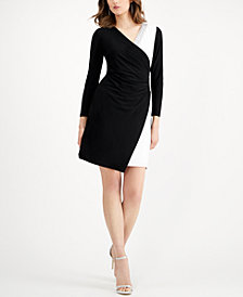 MSK Colorblocked Faux-Wrap Dress