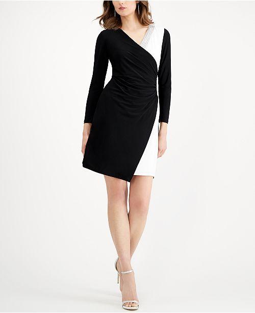 MSK Colorblocked Faux-Wrap Dress
