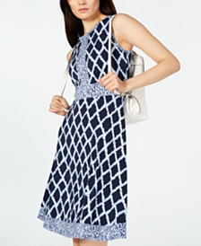 MICHAEL Michael Kors Mixed-Print Dress, in Regular & Petite Sizes