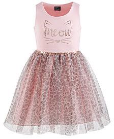 Pink & Violet Big Girls Meow Leopard-Print Dress