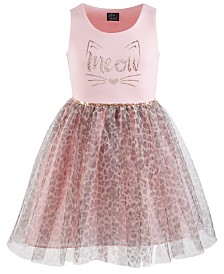 Pink & Violet Big Girls Meow Leopard-Print Dress