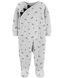 Baby Boys Dinosaur-Print Footed Cotton Coveralls