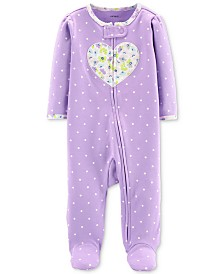 Carter's Baby Girls 1-Pc. Footed Heart Zip-Up Cotton Pajamas