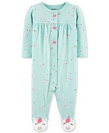 Baby Girls Unicorn-Print Footed Cotton Coverall