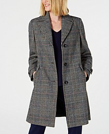 Single-Breasted Plaid Coat, Created for Macy's
