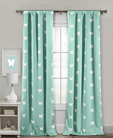 "Wink 38"" x 84"" Butterfly Print Blackout Curtain Set"