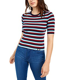 Short-Sleeve Striped Sweater