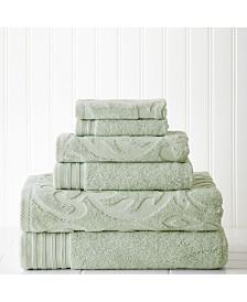 6 Piece Jacquard, Solid Towel Set-Medallion Swirl