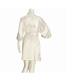 Ivory Satin Bride Robe, Online Only