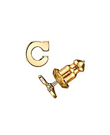 2028 14K Gold-Dipped Initial Button Earrings