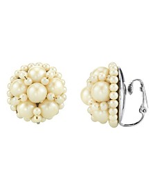 2028 Silver Tone Large Round Multi Pearl Clip Earring