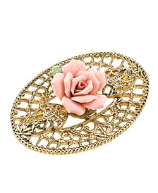 Gold-Tone Pink Porcelain Rose Filigree Brooch