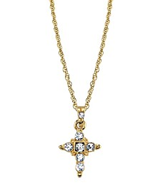 "2028 14K Gold Tone Crystal Cross Pendant Necklace 16"" Adjustable"