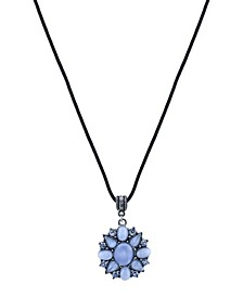 "Pewter Tone Lt. Blue Moonstone and Crystal Pendant Necklace 16"" Adjustable"