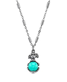 """Pewter Round Semi Precious How lite Dyed Turquoise Puppy Dog Necklace 16"""" Adjustable"""
