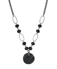"""2028 Black-Tone Black Round Drop Necklace 16"""" Adjustable"""