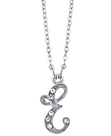"""Silver-Tone Crystal Initial Necklace 16"""" Adjustable"""
