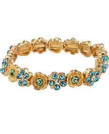 Gold-Tone Blue and Green Flower Stretch Bracelet