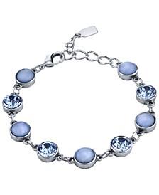 Pewter Tone Lt. Blue Moonstone and Crystal Bracelet
