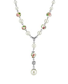 """Silver Tone Faux Pearl Pink Flower Beaded Y Necklace 16"""" Adjustable"""