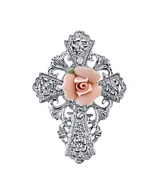 Symbols Of Faith Silver-Tone Pink Porcelain Rose Cross Pin