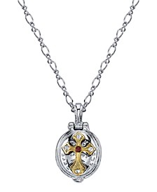 """Silver-Tone and 14K Gold-Dipped St. Jude Lift-Up Necklace 20"""""""