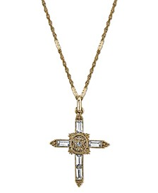 14K Gold-Dipped Crystal Cross Pendant Necklace 18""
