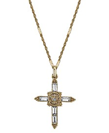 Symbols of Faith 14K Gold-Dipped Crystal Cross Pendant Necklace 18""