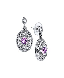 Downton Abbey Silver-Tone Light Purple and Crystal Oval Post Earrings