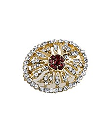 Gold-Tone Crystal Edwardian Pave Oval Pin with Red Center Stones