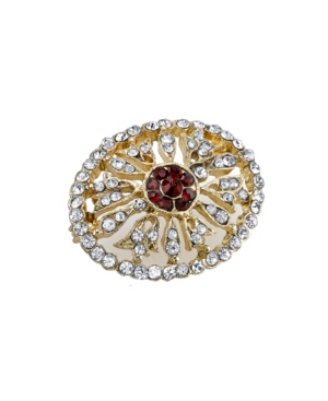 Edwardian Jewelry   Downton Abbey Earrings, Necklaces, Rings Downton Abbey Gold-Tone Crystal Edwardian Pave Oval Pin with Red Center Stones $35.00 AT vintagedancer.com