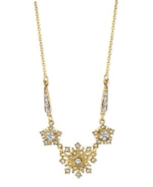 """Gold-Tone Crystal Belle Epoch Starburst Statement Necklace 16"""" Adjustable"""
