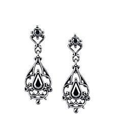 Silver-Tone Hematite Color Drop Earrings