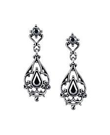 Downton Abbey Silver-Tone Hematite Color Drop Earrings