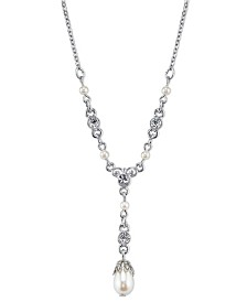 "Downton Abbey Silver-Tone Simulated Pearls and Crystal Y Necklace 16"" Adjustable"