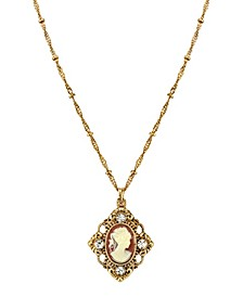 """Gold-Tone Cameo with Crystal Accent Pendant Necklace 16"""" Adjustable"""