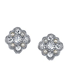 Silver-Tone Crystal and Simulated Pearl Stud Earrings