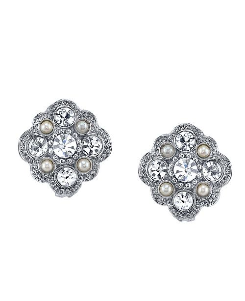 Downton Abbey Silver-Tone Crystal and Simulated Pearl Stud Earrings