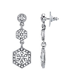 Silver-Tone Crystal Linear Post Drop Earrings