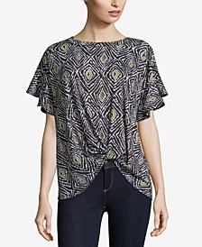 Printed Knit Top with Knot Front