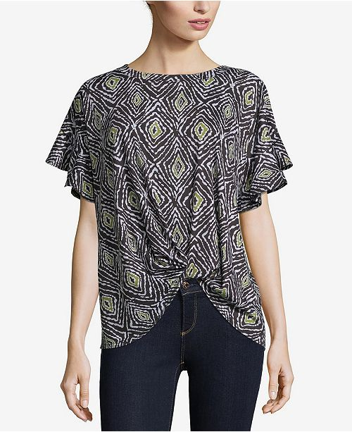John Paul Richard Printed Knit Top with Knot Front