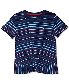 Big Girls Striped Knotted Top